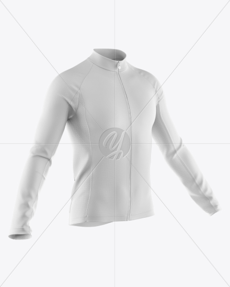 Men's Full-Zip Cycling Jersey With Long Sleeve Mockup - Half Side View