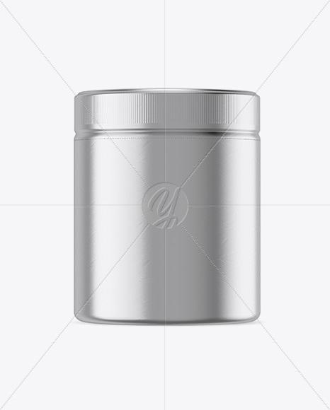 Plastic Jar in Metallic Shrink Sleeve Mockup