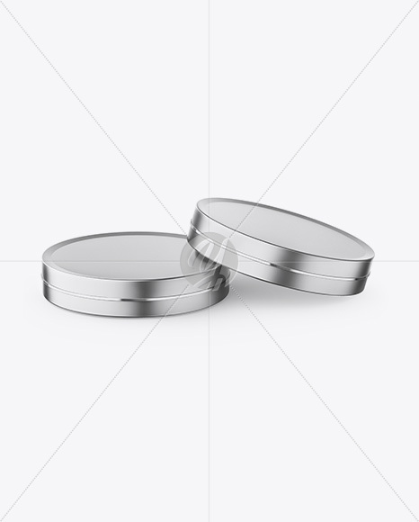 Two Metallic Round Cosmetic Jars Mockup