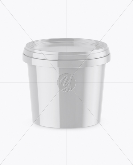 Glossy Ice Cream Cup Mockup (High-Angle Shot)