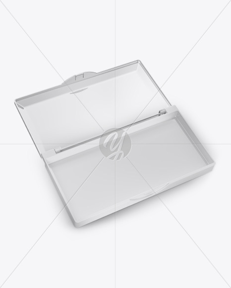 Opened Transparent Box with Lashes Mockup - Half Side View