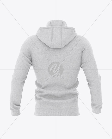 Men's Heather Hoodie Mockup - Back View