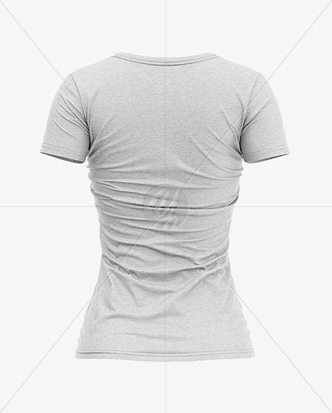 Women's Heather Slim-Fit V-Neck T-Shirt Mockup - Back View