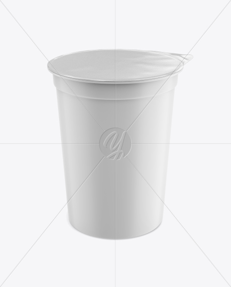 Matte Plastic Cup with Foil Lid Mockup - Front View (High-Angle Shot)