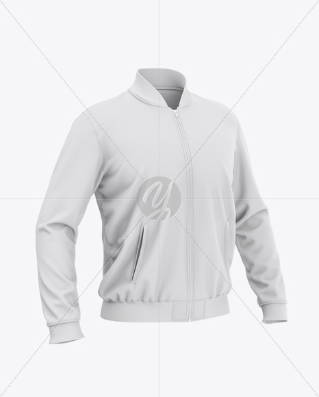 Men's Zipped Bomber Jacket Mockup - Front Half-Side View