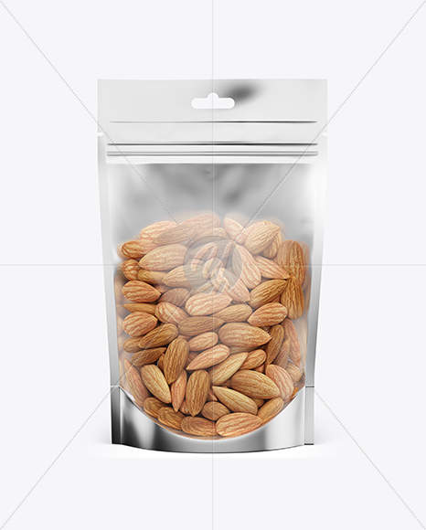 Glossy Transparent Stand-Up Pouch W/ Almond Nuts Mockup - Front View