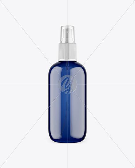 Blue Plastic Cosmetic Bottle w/ Transparent Cap Mockup