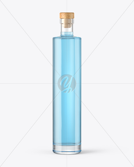 Gin Bottle with Wooden Cap Mockup