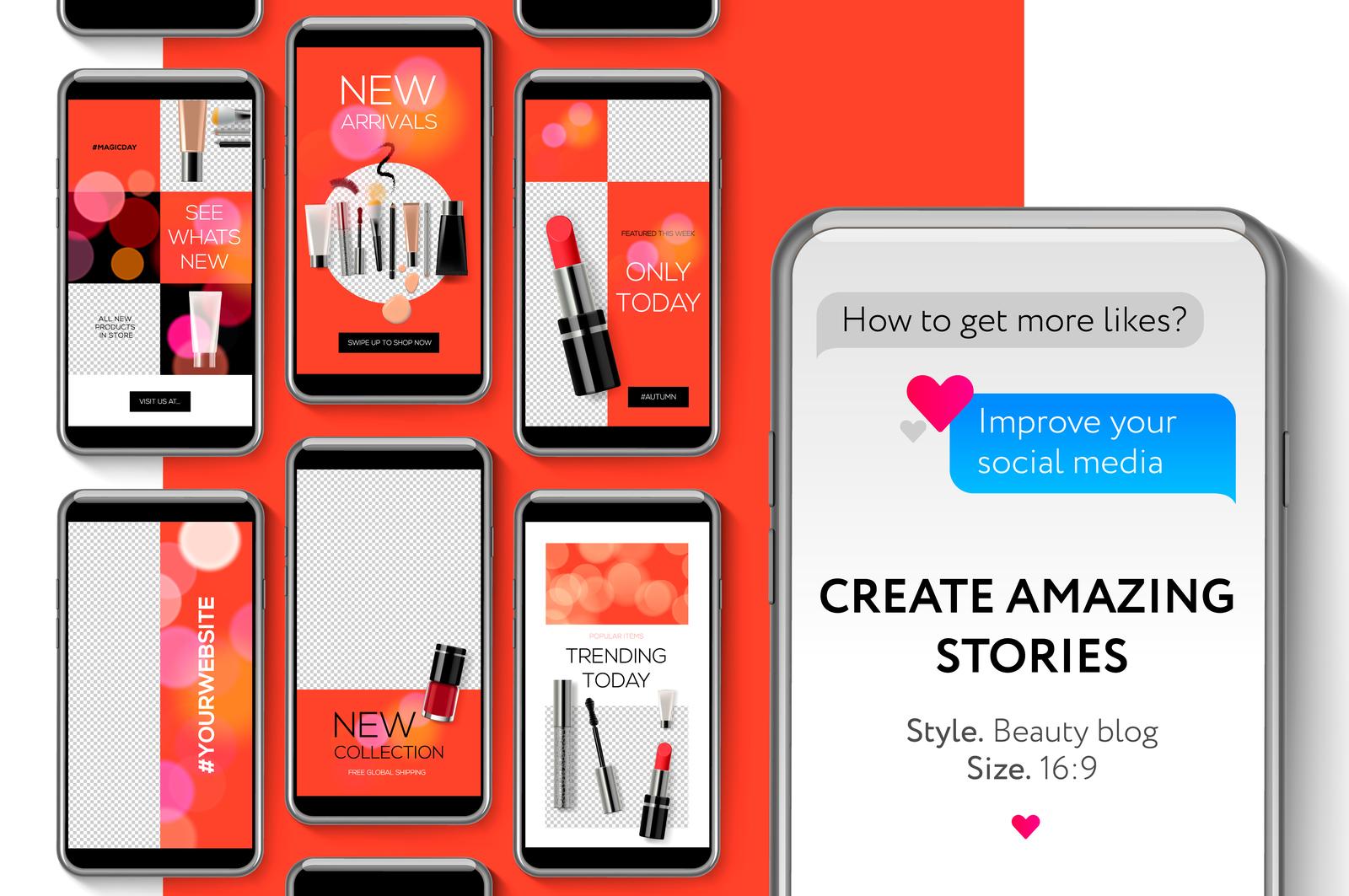 Editable Instagram Stories Template Streaming Vector Illustration