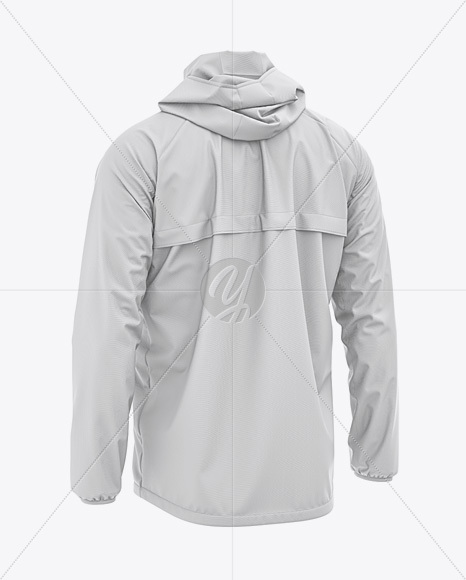 Men's Lightweight Hooded Windbreaker Jacket - Back Half-Side View