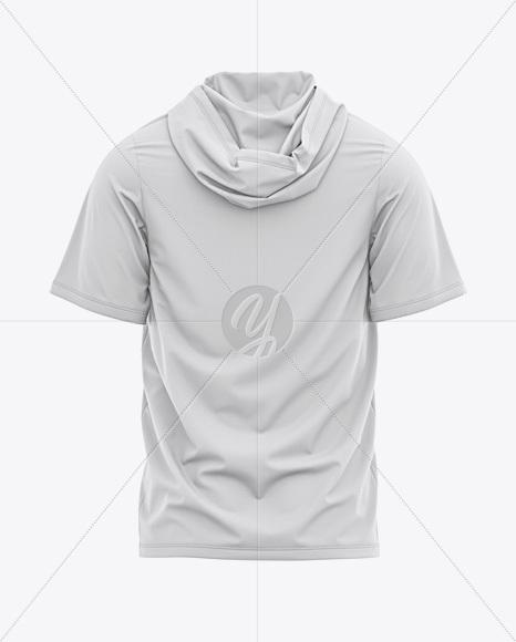 Men's Hooded T-shirt Mockup - Back View