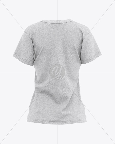 Women's Heather Relaxed Fit T-shirt Mockup - Back View