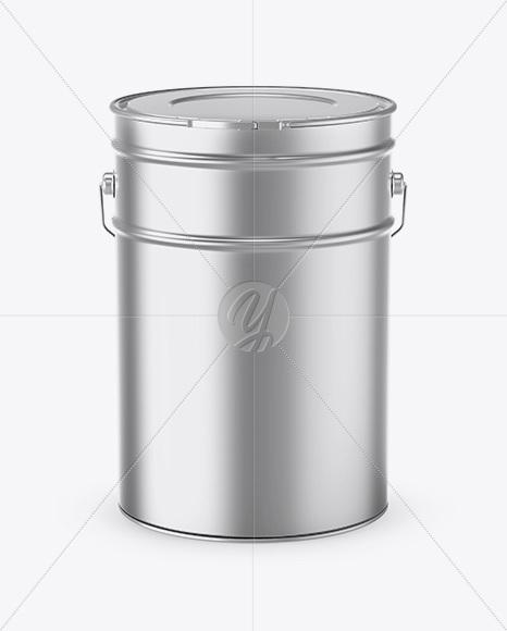 20L Matte Metallic Paint Bucket Mockup