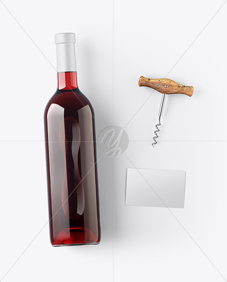 Red Wine Bottle w/ Corkscrew and Card Mockup