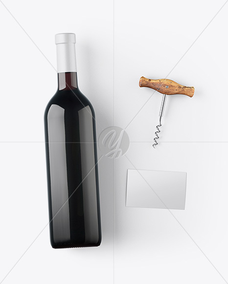 Amber Wine Bottle w/ Corkscrew and Card Mockup