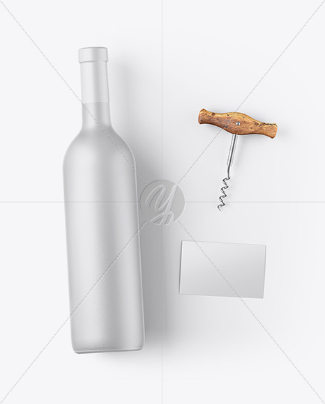 Ceramic Wine Bottle w/ Corkscrew and Card Mockup