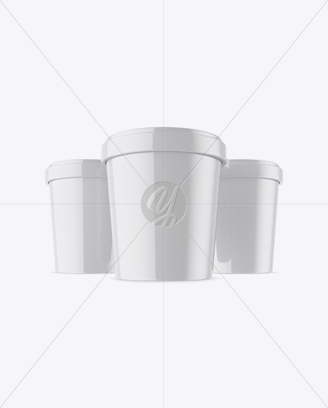 Three Glossy Ice Cream Cups Mockup