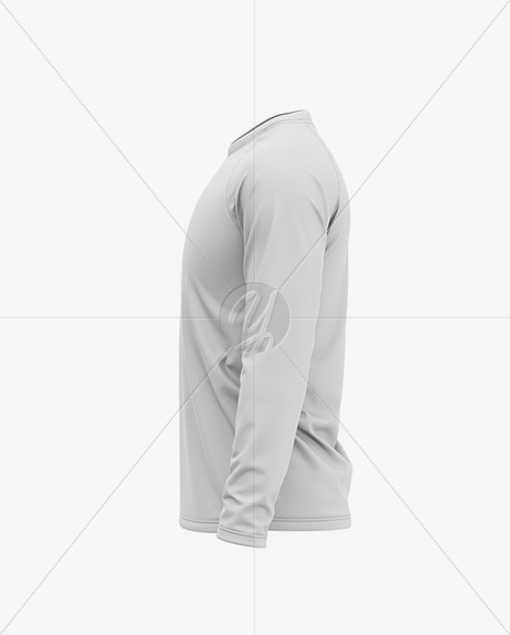 Men's Raglan Long Sleeve T-Shirt Mockup - Side View