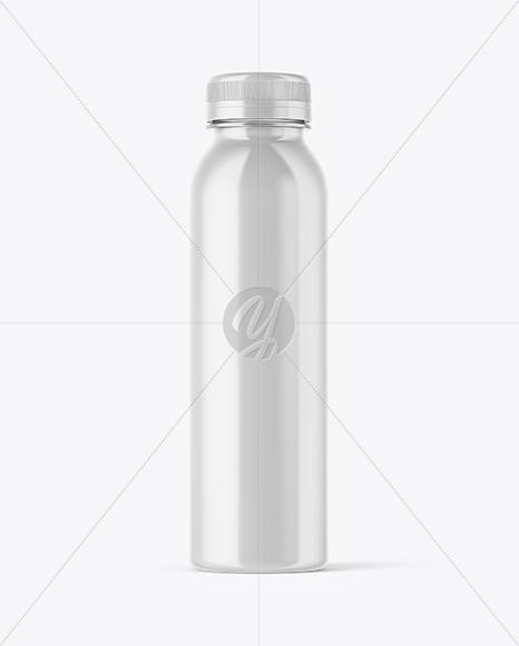 Plastic Transparent Bottle in Glossy Shrink Sleeve Mockup