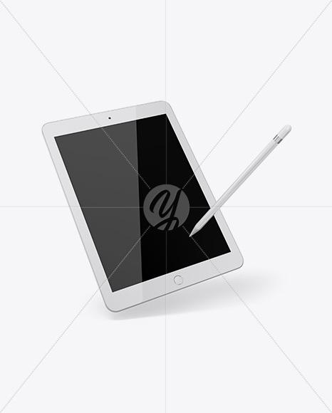 iPad w/ Stylus Mockup
