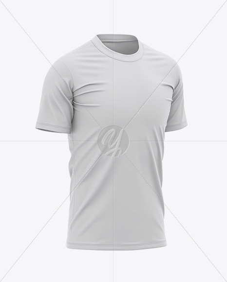 Men's Tight Round Collar T-Shirt – Front Half-Side View