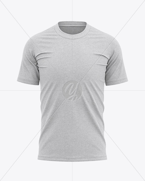 Men's Heather Tight Round Collar T-Shirt - Front View