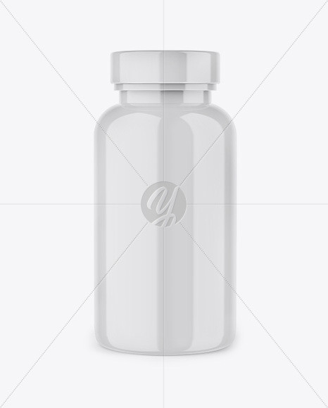 Glossy Plastic Pills Bottle Mockup - Front View