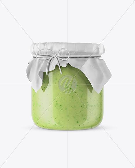 Creamed Honey Glass Jar w/ Fabric Cap Mockup