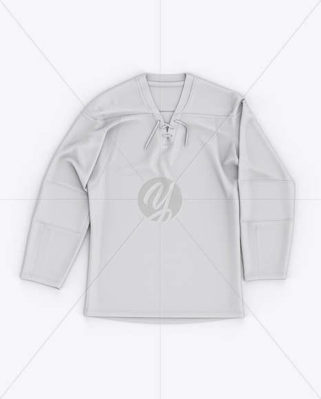 Men's Lace Neck Hockey Jersey Mockup - Front Top View