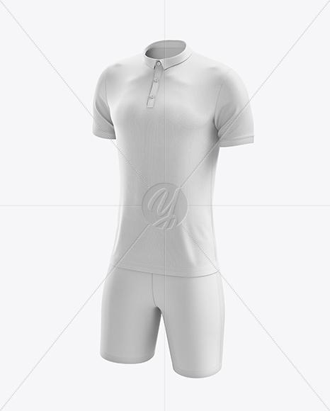 Men's Soccer Polo Kit mockup (Half Side View)