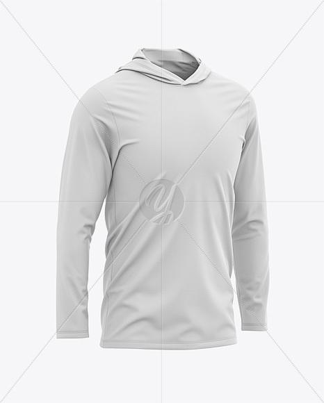Men's Hooded Long Sleeve T-shirt Mockup - Front Half-Side View