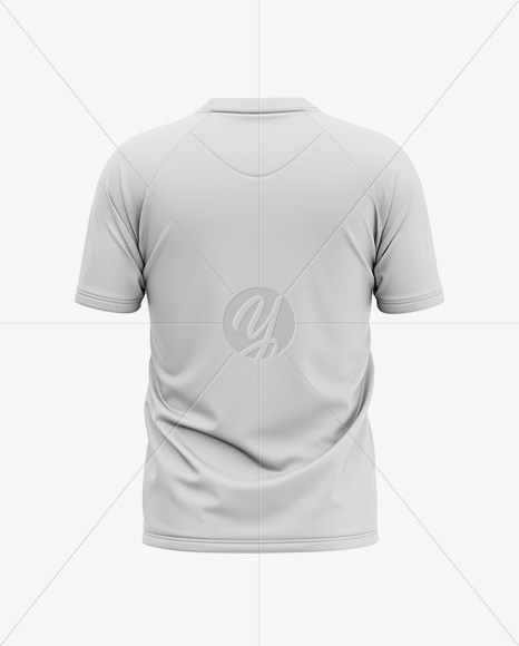 Men's Henley Neck Tow-Buttons Jersey Mockup - Back View