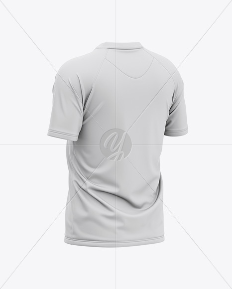 Men's Henley Neck Tow-Buttons Jersey Mockup - Back Half Side View