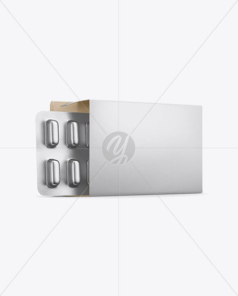 Opened Paper Box & Metallic Pills Blister Mockup - Half Side View