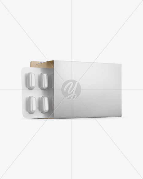 Opened Paper Box & Glossy Pills Blister Mockup - Half Side View