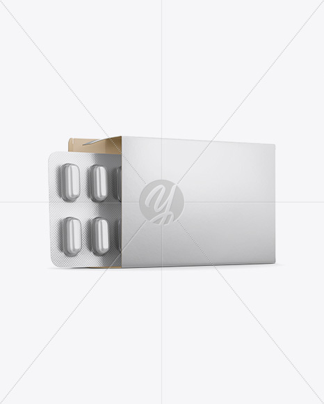 Opened Paper Box & Frosted Pills Blister Mockup - Half Side View