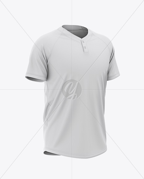 Men's Tow-Buttons Baseball Jersey Mockup - Front Half Side View