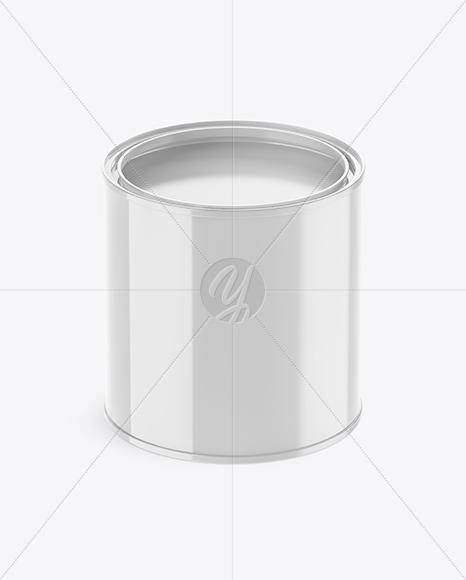 Opened Glossy Paint Bucket Mockup